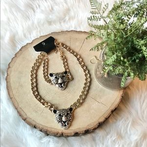 Natasha Panther Leopard Head Necklace Bracelet Set